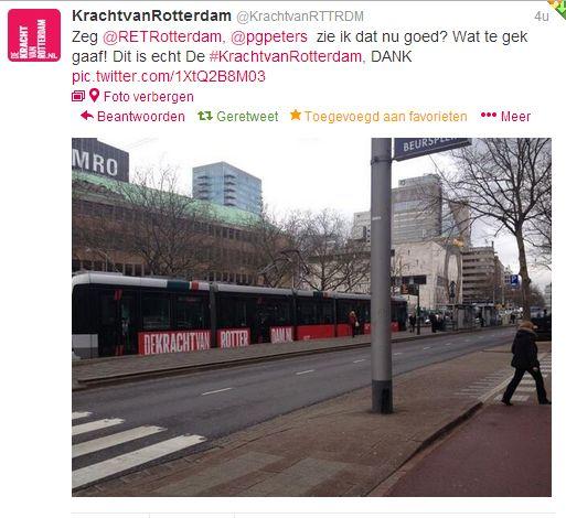 Tweet van de Kracht van Rotterdam @RET