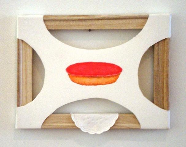 Jans Muskee - roze koek - acryl, papier, canvas, hout, 2013