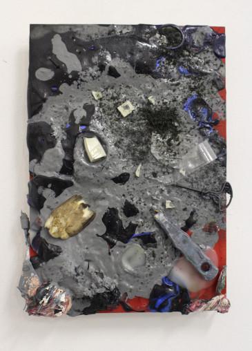 Simon Schrikker - Zonder titel #1 - olie en acrylverf, eendenschedels en botten, vogeltje en mixed media op MDF- 2014